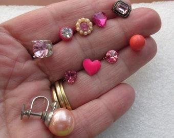 Lot Of Retro Pink Single Odd Earrings