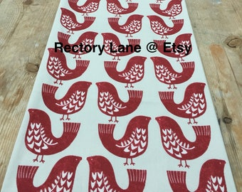 Table runner, Christmas table runner, red bird table runner, scandinavian fabric table linen 120cm