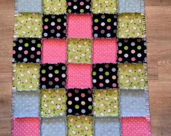 Flannel baby quilt, Baby blanket, polkadot, baby shower, nursery, crib bedding, sheep lamb quilt ; 10% of PP to charity of buyer's choice
