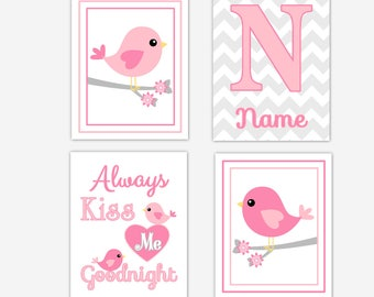 Birds Baby Girl Nursery Wall Art Pink Gray Wall Decor Always Kiss Me Personalize Name Baby Girl Nursery Decor Baby Nursery Wall Decor Prints