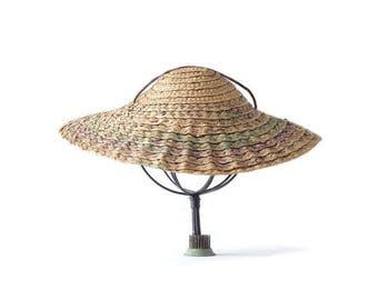 "Vintage Hat Straw Bergere Low Profile Accessories Vintage Clothing Womens Hats Sun Bergere 12 3/4"" Across Wide Brim Hat Cartwheel"