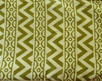 Green Mud cloth fabric natural dye dusty henna color  chevron hand block print Indian cotton fabric daboo cotton half yard