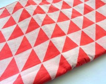 Mud cloth fabric natural dye dusty white and orange red triangle hand block print Indian cotton fabric daboo cotton half yard
