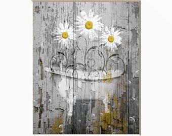 Vintage Farmhouse Decor, Rustic Modern Bathroom Wall Art, Daisy Flowers In Bathtub Home Decor Picture