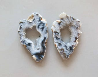 A Pair Natural Druzy Agate Geode Slices C5206