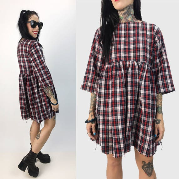 Handmade Plaid Babydoll Dress Small - Quarter Sleeve Frayed Hem Burgundy Babydoll Mini Dress - Vintage Comfy Baggy Dress with Side Pockets