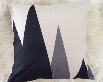 "Modern Geometric black and grey print design Inspired pillow case cover linen 18""x18"""