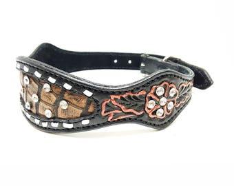 """1 Of 1 Prototype Black Western Style Bling Gator Tooled Handmade Canine Leather Dog Collar 18"""""""