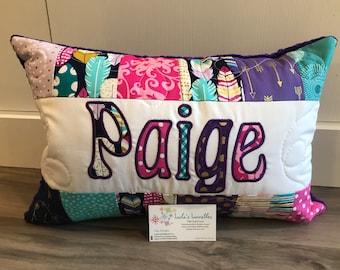Arrow Flight metallic Midnight personalized pillow case, 12x18 inch