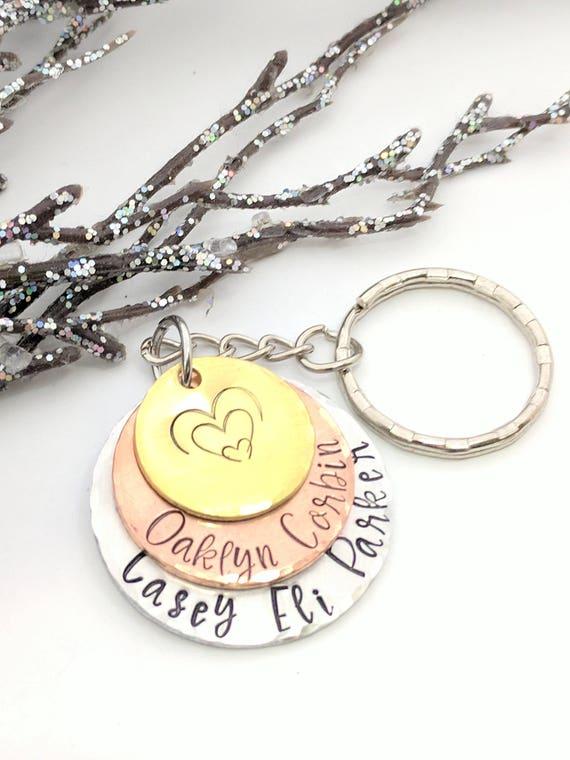 Name Keychain-Layered Name Keychain-Grandma Keychain-Mom Keychain-Family Name Keychain-Exquisite Stamp Design-Personalized Keychain-Gift