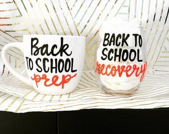 Back to school prep recovery coffee mug wine glass-teacher gift- gift for teachers- christmas gift for teachers-education gift- school teach