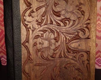 Wooden carved journal