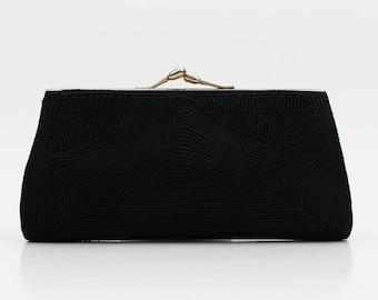 40s Black Corde Clutch - Vintage 1940s Black Cord Handbag