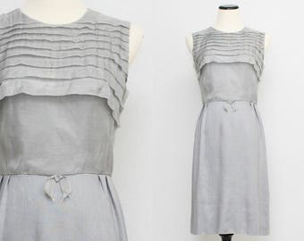 60s Grey Linen Dress - Size Small Vintage 1960s Casual Dress