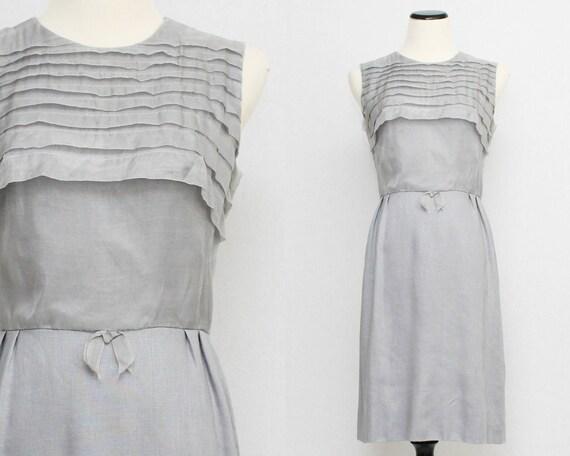 Vintage 1960s Grey Linen Dress - Size Small