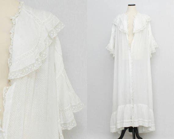 Antique Edwardian Swiss Dot White Cotton Robe
