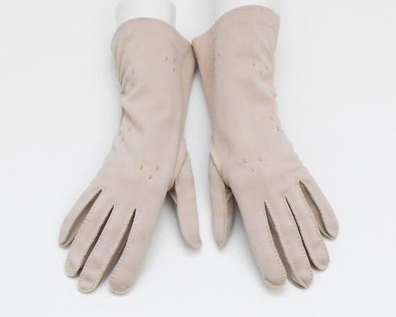 Vintage 1960s Beige Half Length Gloves - Size Large