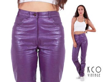 Vtg Purple Leather High Waisted Pants Tapered Fitted Skinny Trousers 80s 90s Vintage Clothing Women's Size XS