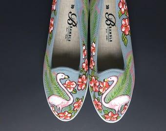 Hand Painted Canvas Shoes size US 8.5-9 / EU 39 Light Blue Flamingo Tropicak Flowers Motif