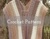 CROCHET PATTERN Tirzah Sweater Tunic   Caron Cakes   V neck   Summer   Light top   Sleeveless   Brown   Neutral   Stripes   Mesh   Cord
