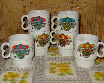Vintage Set of 6 Stackable Mugs / Floral Stackable Mugs / Coffee Cups / Floral Coffee Cups