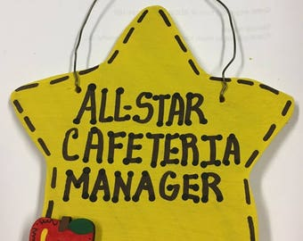 Teacher Gift All Star Cafeteria Manager Handmade