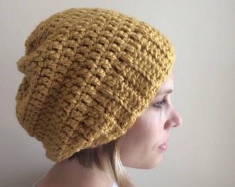 Mustard Slouchy hat-crochet slouchy hat-knit slouchy hat-mustard beanie-slouchy beanie- mustard pom hat-mustard hat