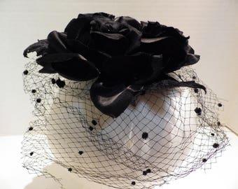 1960s Vintage Hat Fascinator 3 Black Roses Veil