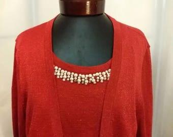 Shop closing Red sweater red metallic sweater two in one sweater pearl rhinestone sweater size XL