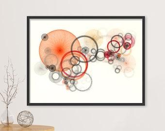 Large Art Print, Abstract Print, Orange Large Geometric Art, Orange Mod Art Print, Retro Art Print, Large Wall Art Fine Art Print Orange Art