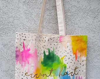 Hand-painted tote bag with screenprinted gold foil lettering
