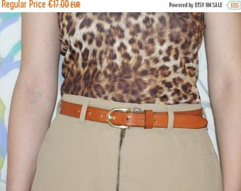 ON SALE 90's vintage women's brown leather belt