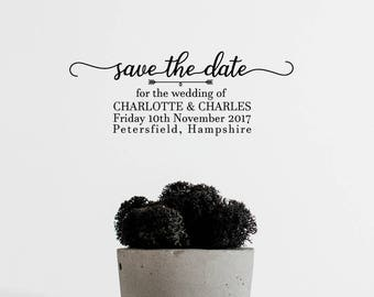 Save the Date Stamp, Custom Invitation Stamp, Personalized Wedding Stamp, Self-inking Stamp - CW715