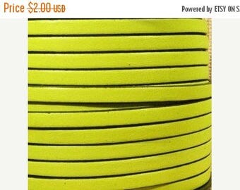 """20% Off: Per 24"""" Fluorescent Yellow 5mm flat leather with Black Trim, Neon yellow"""