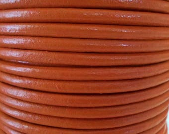 "PRE CUTS  36"" 4mm Round Pumpkin Orange Round Leather cord,"