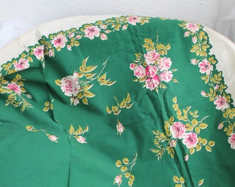 Shabby Vintage Rose Tablecloth Chic Green Pink