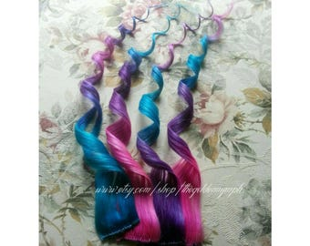 Dipped dyed hair etsy pink purple blue colored dyed hair cotton candy set of 2 clip in 100 human pmusecretfo Images