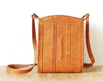 80s Vintage Leather Handbag, Medium Light Brown Leather Handmade Woman Purse, Retro Genuine Leather Woman Shoulder Bag