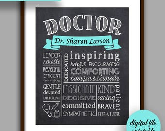 Doctor Gift, Personalized Doctor Gift, Doctor Graduate Gift, Doctor Appreciation Gift, Thank you Doctor, Doctor CHALKBOARD Style Printable