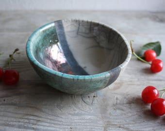 Black, blue and white raku ceramic round bowl handmade - raku pottery