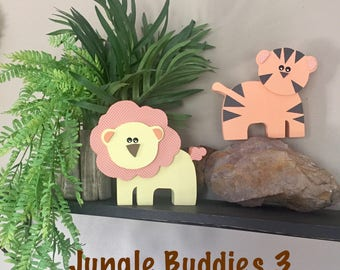 Wooden Jungle Buddies 3 (Pastels) - Jungle Animals, Safari Animals, Wood Animals, Nursery/Kid Decor, Baby Jungle Animals Lion, Tiger