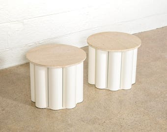 mid century side tables, end tables, nighstands, pair of unique marble with metal base cylinder side tables, mid century modern, vintage