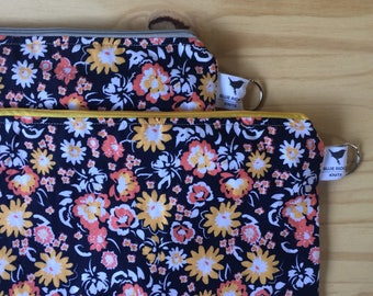 Large Floral Zippered Knitting Crochet Project Bag