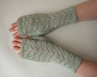 Knitted of SILK and super soft baby ALPACA wool. PISTACHIO (light green) fingerless gloves, wrist warmers, fingerless mittens. Thin gloves.