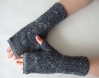 Knitted of 100 % CASHMERE. Especially soft, thin and warm GRAY (lux tweed) fingerless gloves, wrist warmers, fingerless mittens. Handmade.