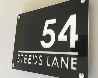 Large Rectangular House Number & Name Sign - Several Colour Choices - Includes Chrome Fixing Kit
