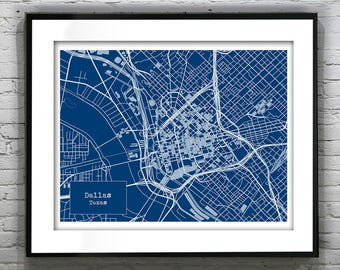 Dallas map etsy presidents day sale 15 off dallas texas blueprint map poster art print several sizes malvernweather Gallery