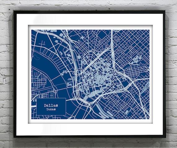 Dallas Texas Blueprint Map Poster Art Print Several Sizes
