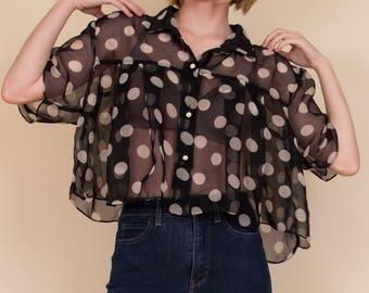 Vintage 80s sheer polka dot crop top , pleated cropped blouse short sleeve black white