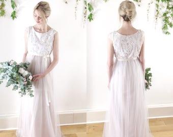CHARLOTTE - Boho wedding dress, Ivory corded lace with cap sleeves, blush matt satin, tulle skirt, sz small / UK 10 - ready to wear